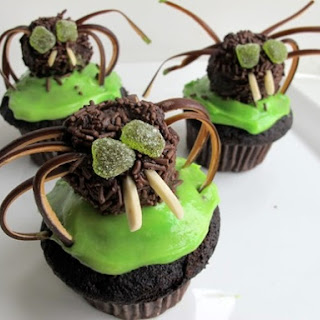 Chili-Chocolate Spider Cupcakes
