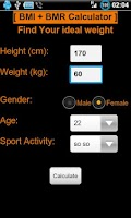 Screenshot of BMI + BMR diet calculator