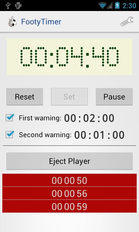 Footy Timer - screenshot