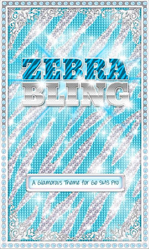 ♦ BLING Theme Teal Zebra SMS ♦