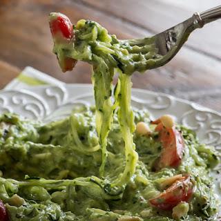 Raw Avocado Kale Pesto with Zucchini Noodles