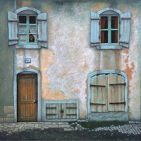 A House in France by Joseph T Dick - Painting All Painting ( street, house, painting, weathered )