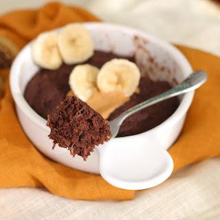 Healthy Single-Serving Chocolate Peanut Butter Banana Microwave Cake (sugar free, gluten free, vegan).