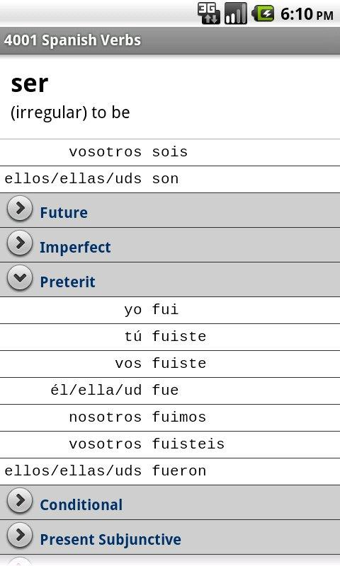 4001 Spanish Verbs - screenshot