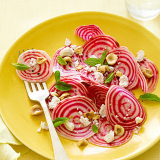 Chioggia Beet Salad with Ricotta Salata and Hazelnuts