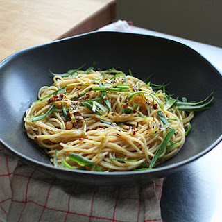 Sesame Noodles with Chili Oil and Scallions.