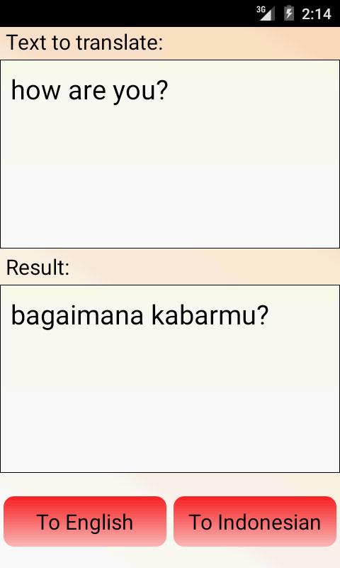 Indonesian English Translator - screenshot