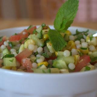 Minty Fregola & grilled corn salad.
