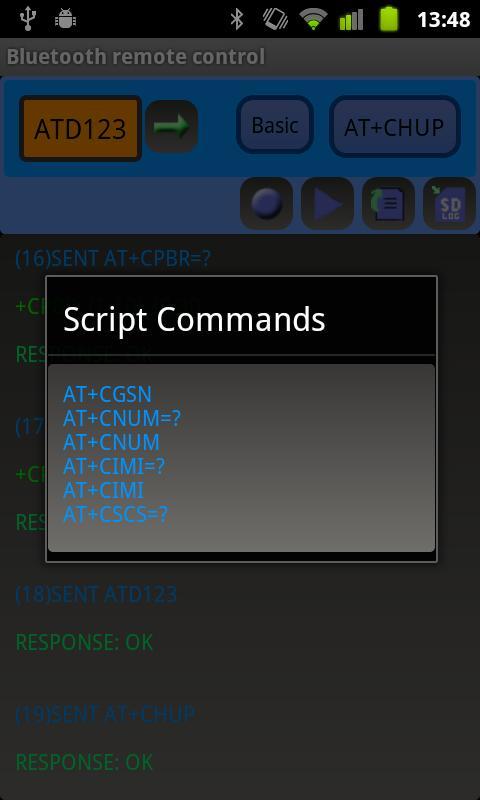 Bluetooth remote control - screenshot