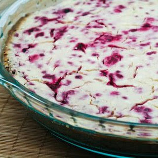 Low-Sugar Rasberry Cheesecake with Pecan Crust.