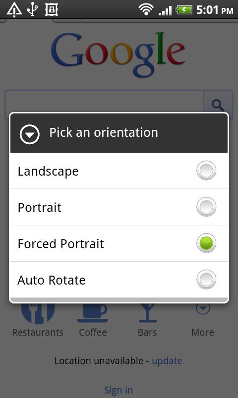 Orientation Control- screenshot