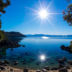 Clone by Mike Lindberg - Landscapes Mountains & Hills ( calm, alpine lake, reflection, sierra nevada, afternoon, eastern sierra, lake, beach, nevada, mountain lake, tahoe, sunstar, sierra, secret cove, lake tahoe )