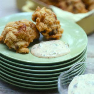 Crawfish-Eggplant Beignets with Remoulade Sauce.