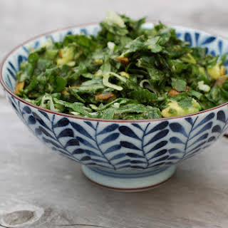 Lemony Kale Salad with Avocado-Coconut Dressing.