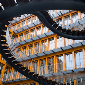 Staircase in Munich by Photoxor AU - Buildings & Architecture Other Exteriors ( munich, orange, bavaria, staircase, germany,  )