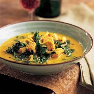 Thai Coconut-Curried Salmon with Greens.