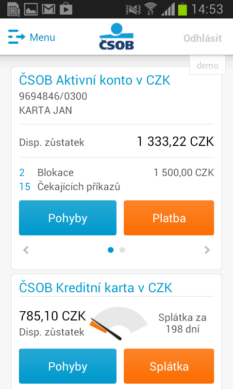 ČSOB SmartBanking- screenshot