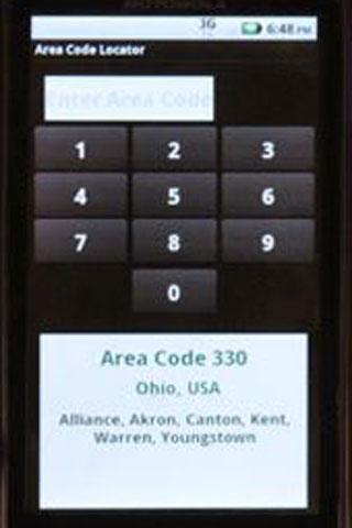 Area Code Locator - screenshot