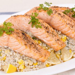 Broiled Salmon with Sweet Corn and Barley Risotto CBC Best Recipes Ever Recipe