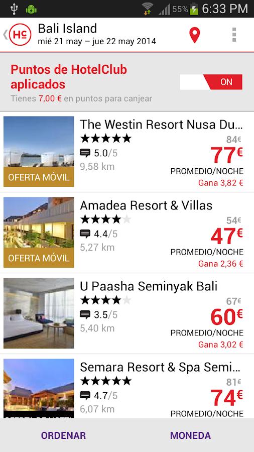 HotelClub: 70% de descuento: captura de pantalla
